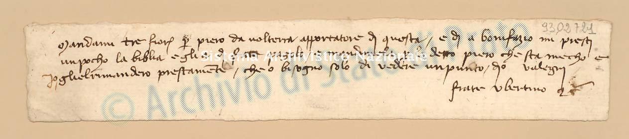 Archivio di Stato di Prato, Fondo Datini, Carteggio privato, Carteggi diversi, Lettere Di Vari a Vari, 1114.02. Lettere Di Ubertino, Frate a Boni Ambrogio Di Meo (busta 1114.02, codice 9302721)