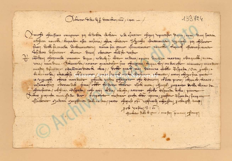 Archivio di Stato di Prato, Fondo Datini, Lettere di vari a Francesco Datini, 1091.104 Lettere Di Compagni Niccolò a Datini Francesco Di Marco (busta 1091, inserto 104, codice 133724)