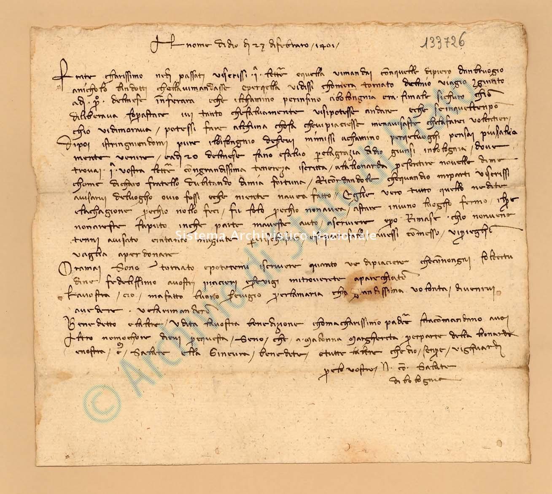 Archivio di Stato di Prato, Fondo Datini, Lettere di vari a Francesco Datini, 1091.104 Lettere Di Compagni Niccolò a Datini Francesco Di Marco (busta 1091, inserto 104, codice 133726)
