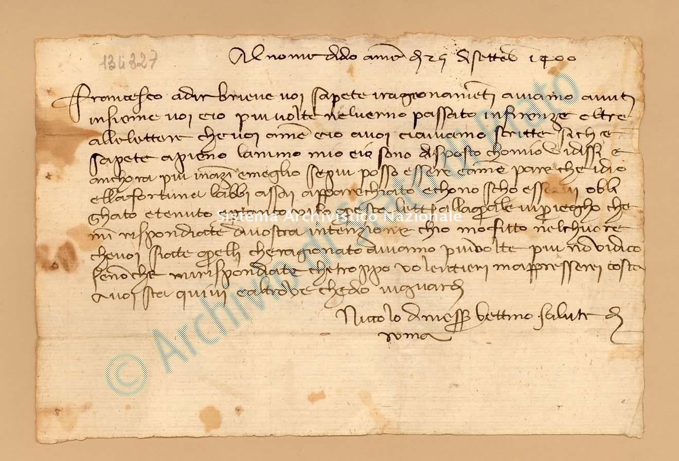 Archivio di Stato di Prato, Fondo Datini, Lettere di vari a Francesco Datini, 1092.7 Lettere Di Covoni Niccolò Di Messer Bettino a Datini Francesco Di Marco (busta 1092, inserto 7, codice 134327)