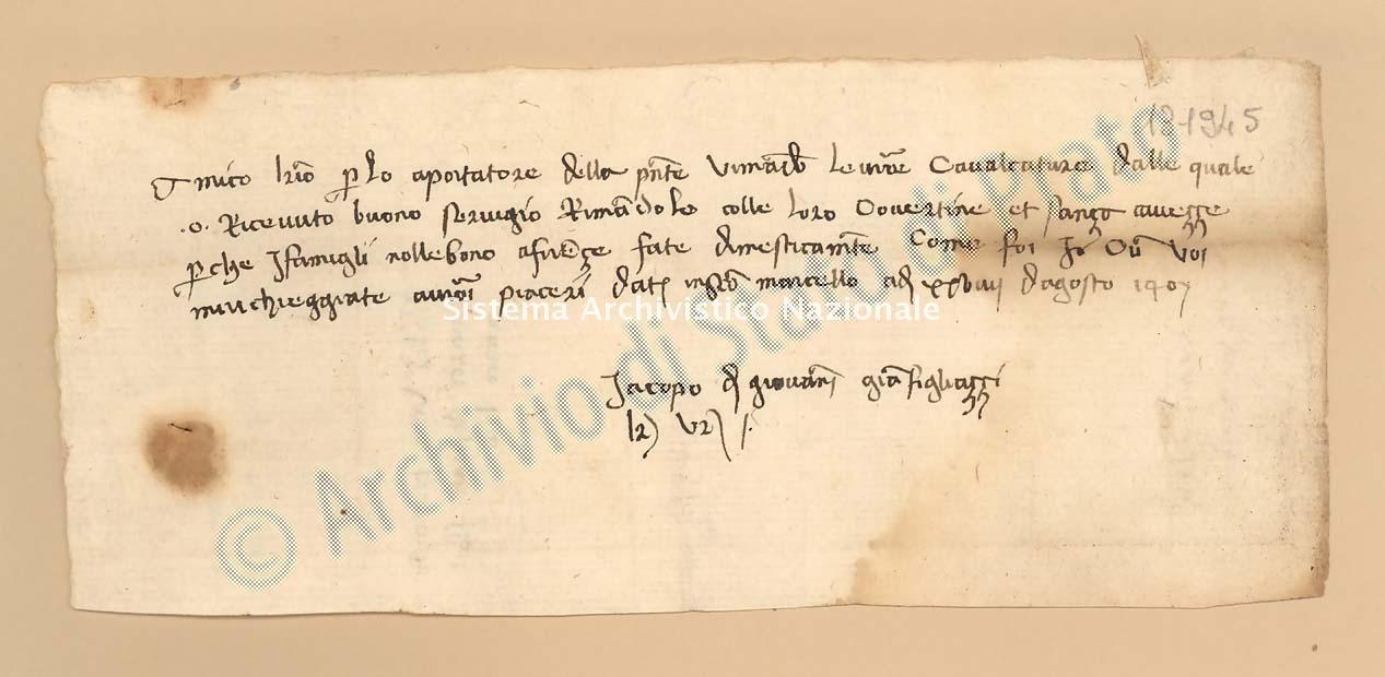 Archivio di Stato di Prato, Fondo Datini, Lettere di vari a Francesco Datini, 1093.1 Lettere Di Gianfigliazzi Iacopo Di Giovanni a Datini Francesco Di Marco (busta 1093, inserto 1, codice 131945)