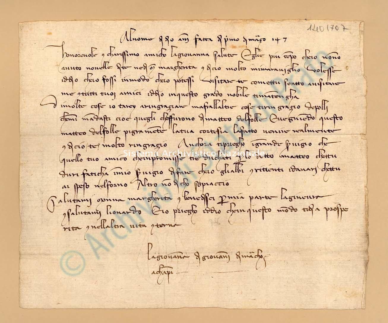 Archivio di Stato di Prato, Fondo Datini, Lettere di vari a Francesco Datini, 1093.10 Lettere Di Giovanna Di Giovanni Di Marco a Datini Francesco Di Marco (busta 1093, inserto 10, codice 1401707)