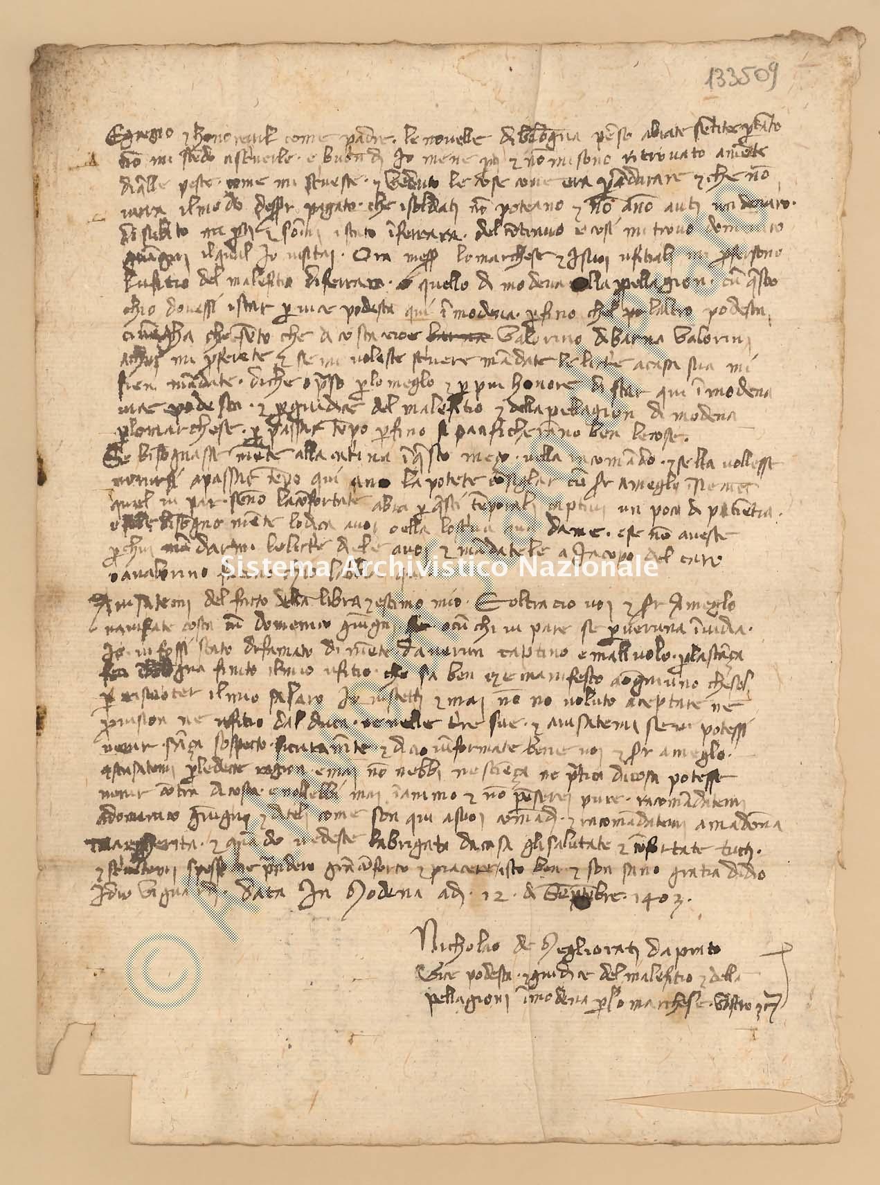 Archivio di Stato di Prato, Fondo Datini, Lettere di vari a Francesco Datini, 1097.17 Lettere Di Migliorati Niccolaio Di Messer Lapo, Dottore In Legge a Datini Francesco Di Marco (busta 1097, inserto 17, codice 133509)
