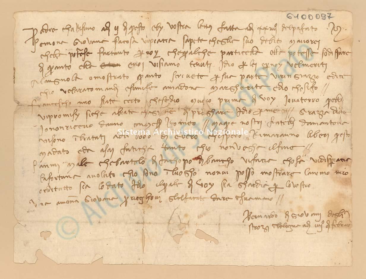 Archivio di Stato di Prato, Fondo Datini, Lettere di vari a Francesco Datini, 1103.6 Lettere Di Strozzi Bernardo Di Giovanni a Datini Francesco Di Marco (busta 1103, inserto 6, codice 6100097)