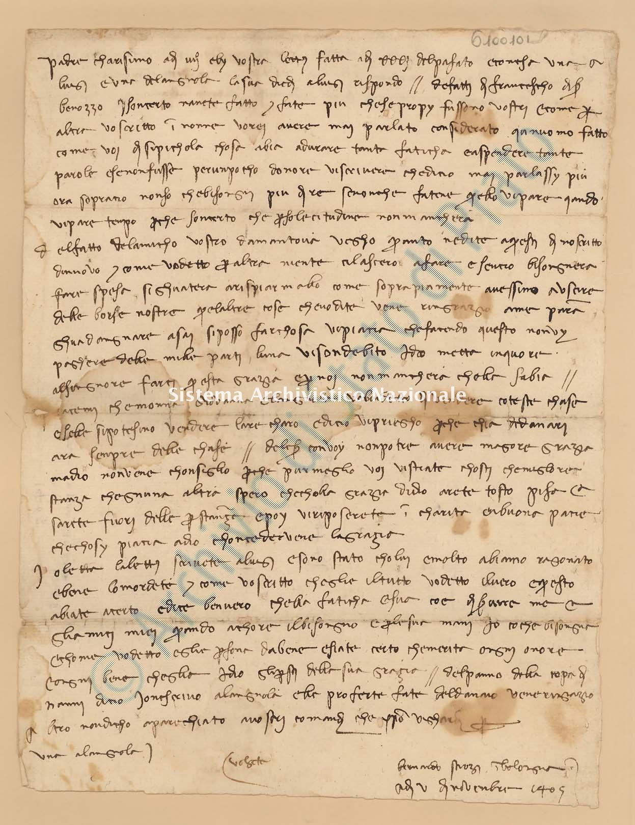 Archivio di Stato di Prato, Fondo Datini, Lettere di vari a Francesco Datini, 1103.6 Lettere Di Strozzi Bernardo Di Giovanni a Datini Francesco Di Marco (busta 1103, inserto 6, codice 6100101)
