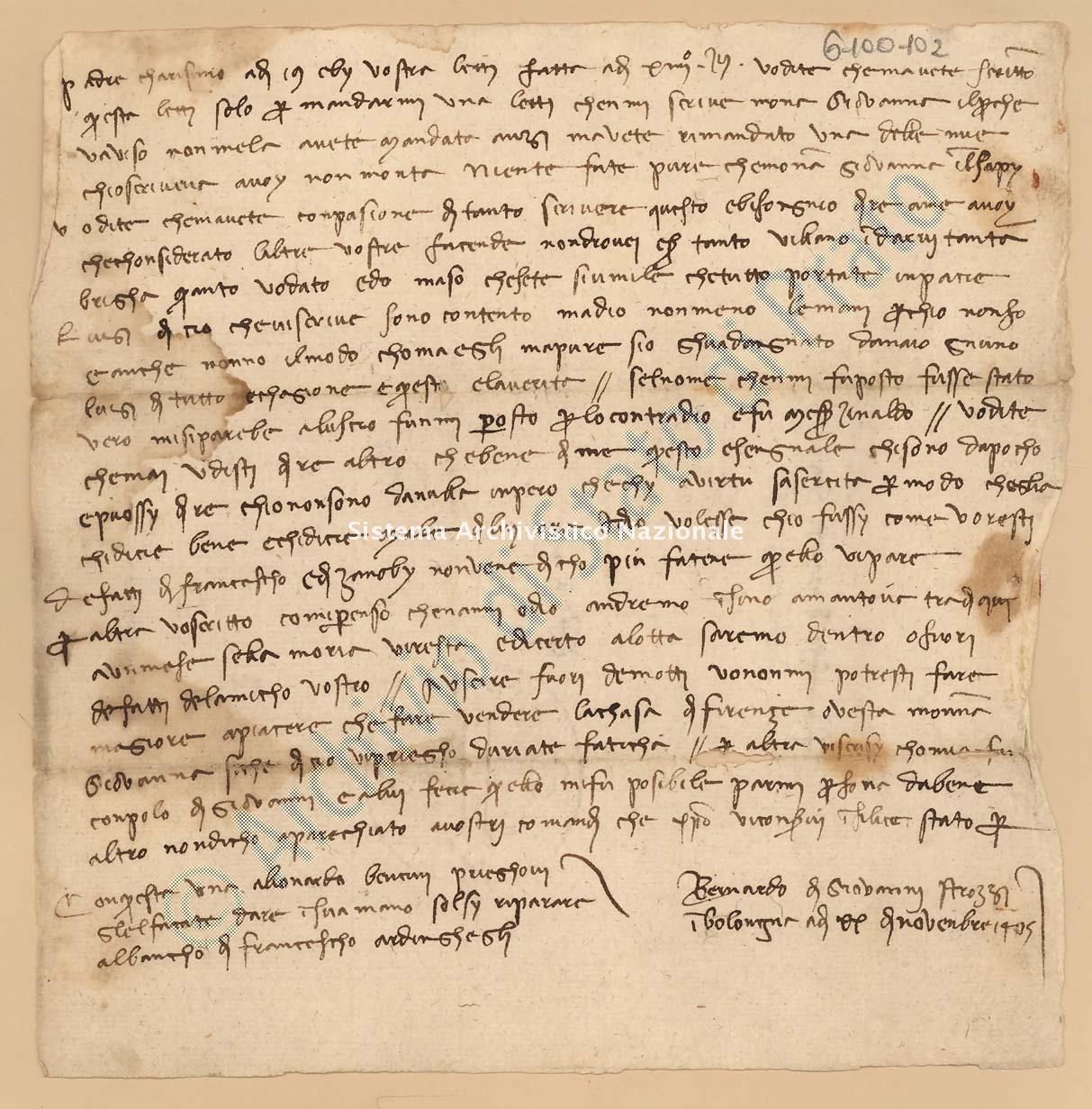 Archivio di Stato di Prato, Fondo Datini, Lettere di vari a Francesco Datini, 1103.6 Lettere Di Strozzi Bernardo Di Giovanni a Datini Francesco Di Marco (busta 1103, inserto 6, codice 6100102)