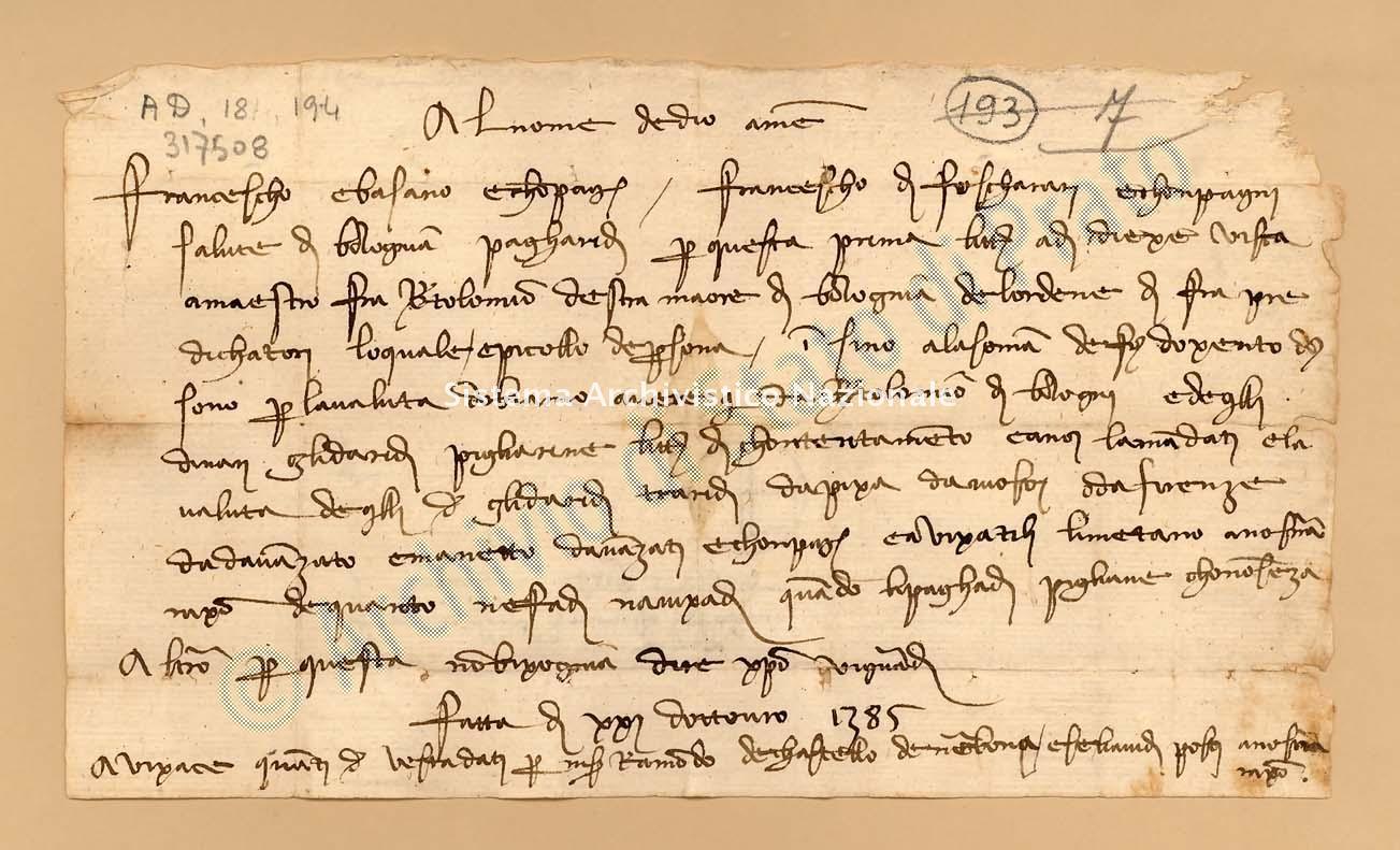 Archivio di Stato di Prato, Fondo Datini, Carteggio specializzato, Lettere di cambio, Fondaco di Avignone, Proveniente Da Bologna (busta 1142, inserto 54, codice 317508)