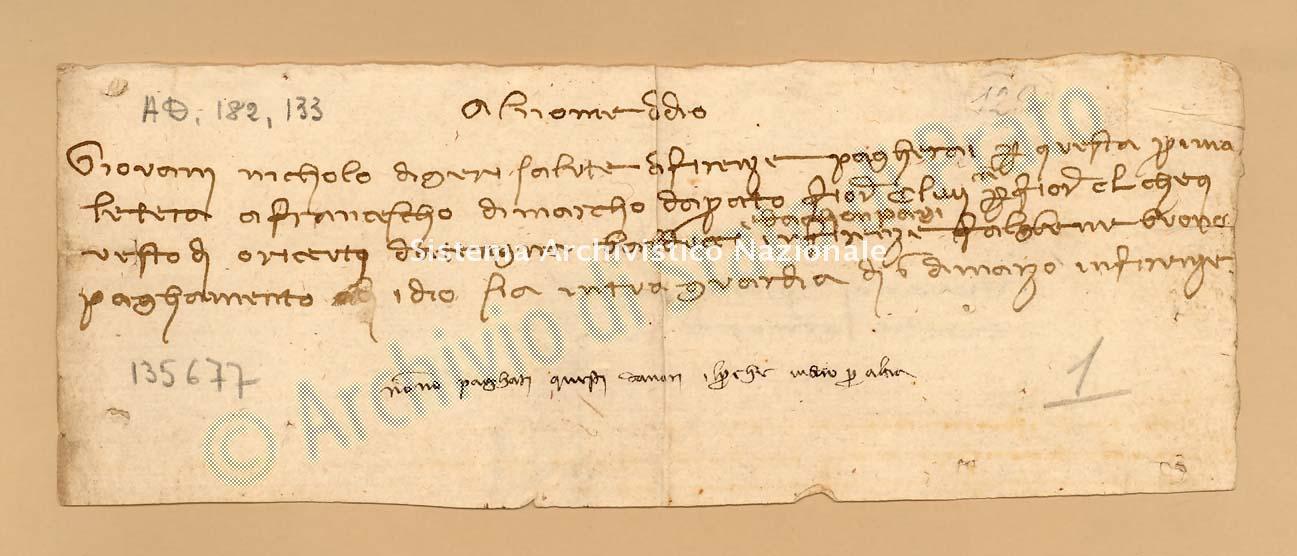 Archivio di Stato di Prato, Fondo Datini, Carteggio specializzato, Lettere di cambio, Fondaco di Avignone, Proveniente Da Firenze (busta 1142, inserto 64, codice 135677)