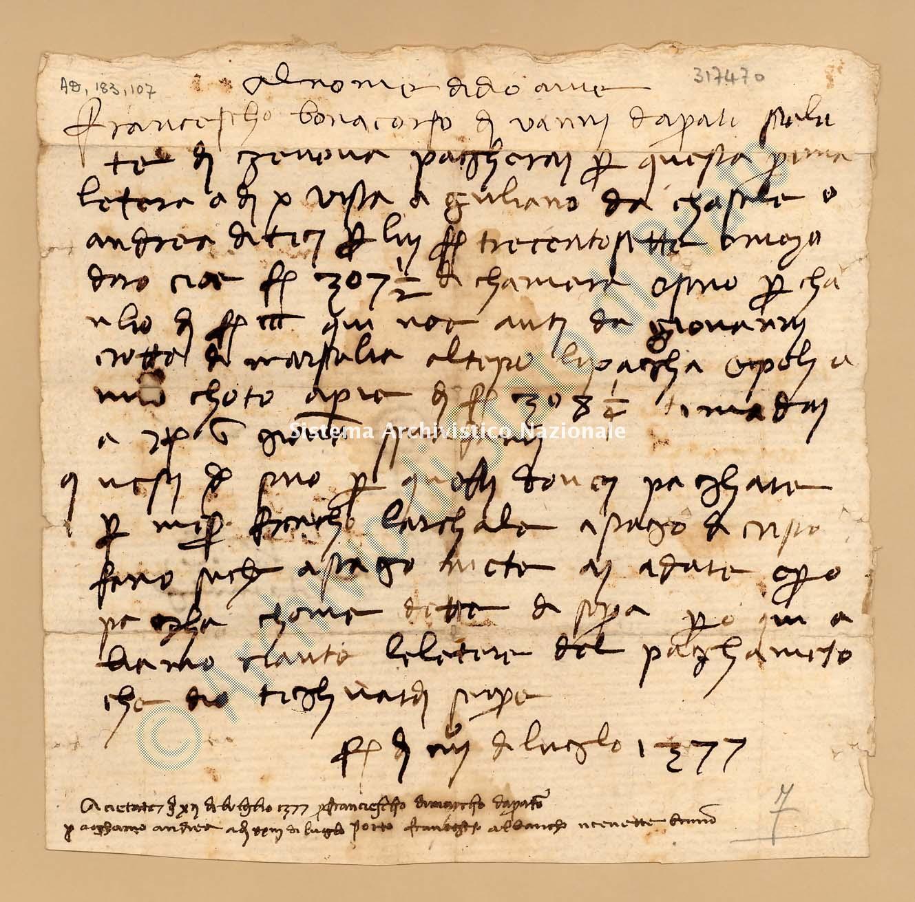 Archivio di Stato di Prato, Fondo Datini, Carteggio specializzato, Lettere di cambio, Fondaco di Avignone, Proveniente Da Genova (busta 1142, inserto 73, codice 317470)