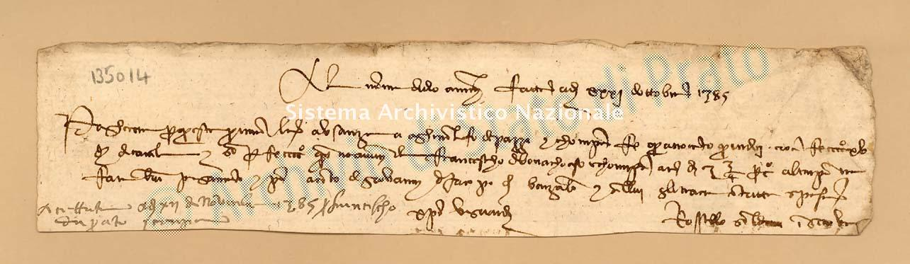 Archivio di Stato di Prato, Fondo Datini, Carteggio specializzato, Lettere di cambio, Fondaco di Avignone, Proveniente Da Genova (busta 1142, inserto 82, codice 135014)