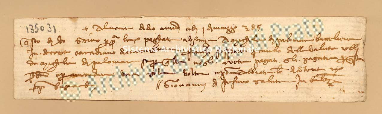 Archivio di Stato di Prato, Fondo Datini, Carteggio specializzato, Lettere di cambio, Fondaco di Avignone, Proveniente Da Valenza (busta 1142, inserto 192, codice 135031)