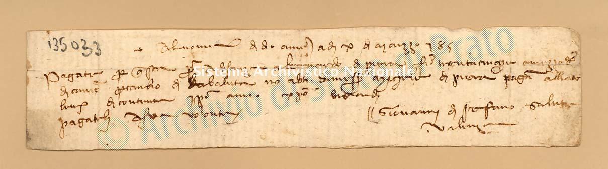 Archivio di Stato di Prato, Fondo Datini, Carteggio specializzato, Lettere di cambio, Fondaco di Avignone, Proveniente Da Valenza (busta 1142, inserto 192, codice 135033)