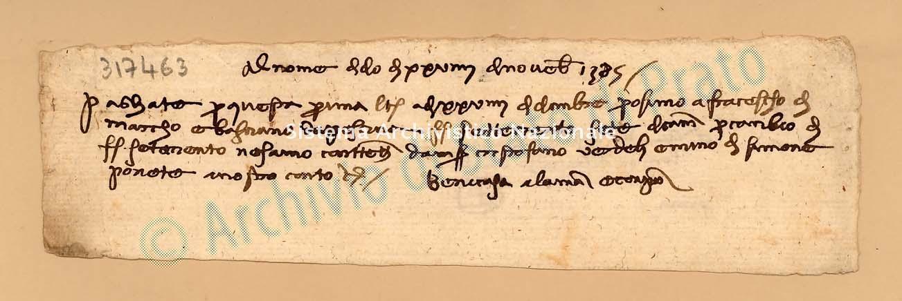 Archivio di Stato di Prato, Fondo Datini, Carteggio specializzato, Lettere di cambio, Fondaco di Avignone, Proveniente Da Venezia (busta 1142, inserto 195, codice 317463)