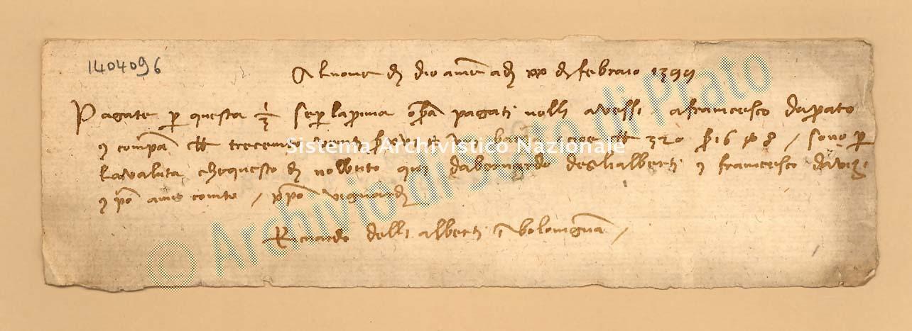 Archivio di Stato di Prato, Fondo Datini, Carteggio specializzato, Lettere di cambio, Fondaco di Barcellona, Proveniente Da Bologna (busta 1145.01, inserto 65, codice 1404096)