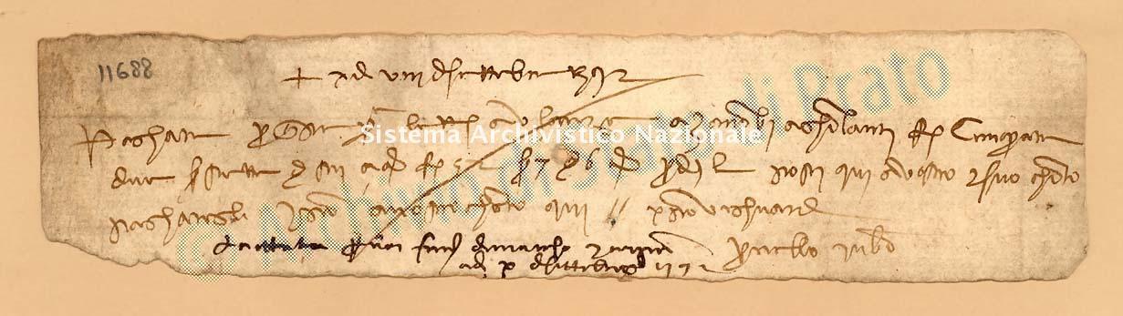 Archivio di Stato di Prato, Fondo Datini, Carteggio specializzato, Lettere di cambio, Fondaco di Firenze, Proveniente Da Bologna (busta 1142, inserto 57, codice 11688)