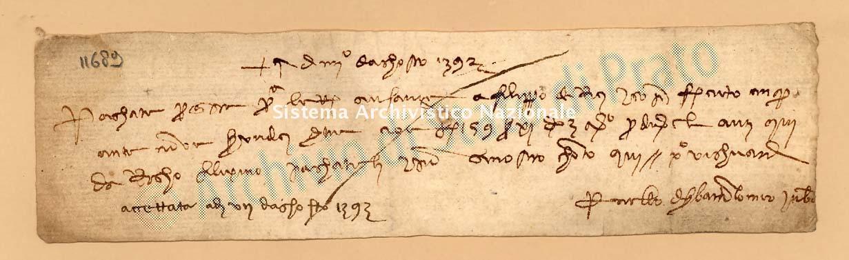Archivio di Stato di Prato, Fondo Datini, Carteggio specializzato, Lettere di cambio, Fondaco di Firenze, Proveniente Da Bologna (busta 1142, inserto 57, codice 11689)