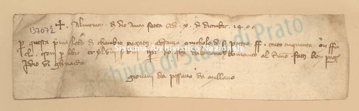 Archivio di Stato di Prato, Fondo Datini, Carteggio specializzato, Lettere di cambio, Fondaco di Genova, Proveniente Da Milano (busta 1144, inserto 199, codice 137072)