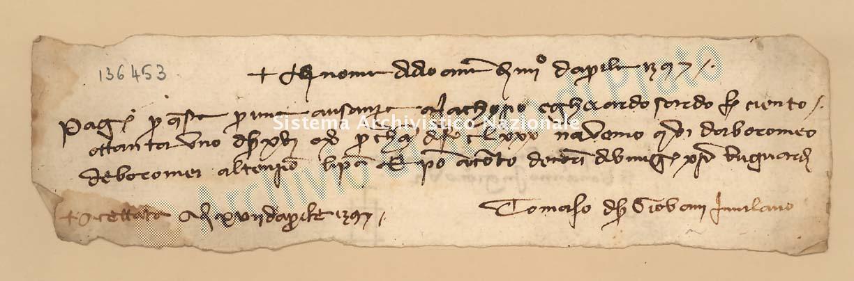Archivio di Stato di Prato, Fondo Datini, Carteggio specializzato, Lettere di cambio, Fondaco di Genova, Proveniente Da Milano (busta 1144, inserto 200, codice 136453)