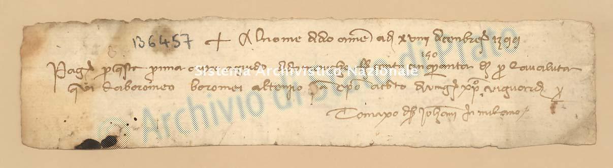 Archivio di Stato di Prato, Fondo Datini, Carteggio specializzato, Lettere di cambio, Fondaco di Genova, Proveniente Da Milano (busta 1144, inserto 200, codice 136457)