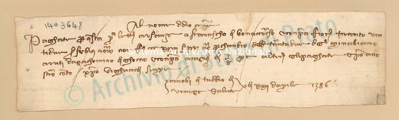 Archivio di Stato di Prato, Fondo Datini, Carteggio specializzato, Lettere di cambio, Fondaco di Genova, Proveniente Da Venezia (busta 1144, inserto 314, codice 1403648)