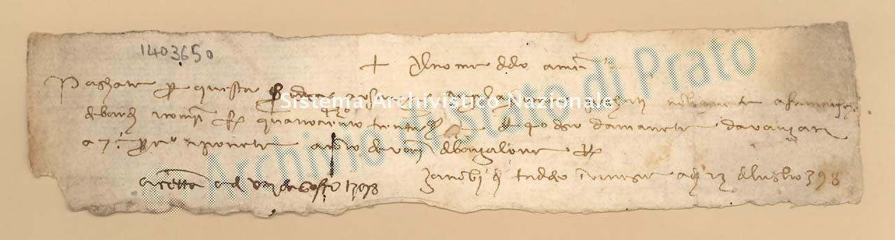 Archivio di Stato di Prato, Fondo Datini, Carteggio specializzato, Lettere di cambio, Fondaco di Genova, Proveniente Da Venezia (busta 1144, inserto 315, codice 1403650)