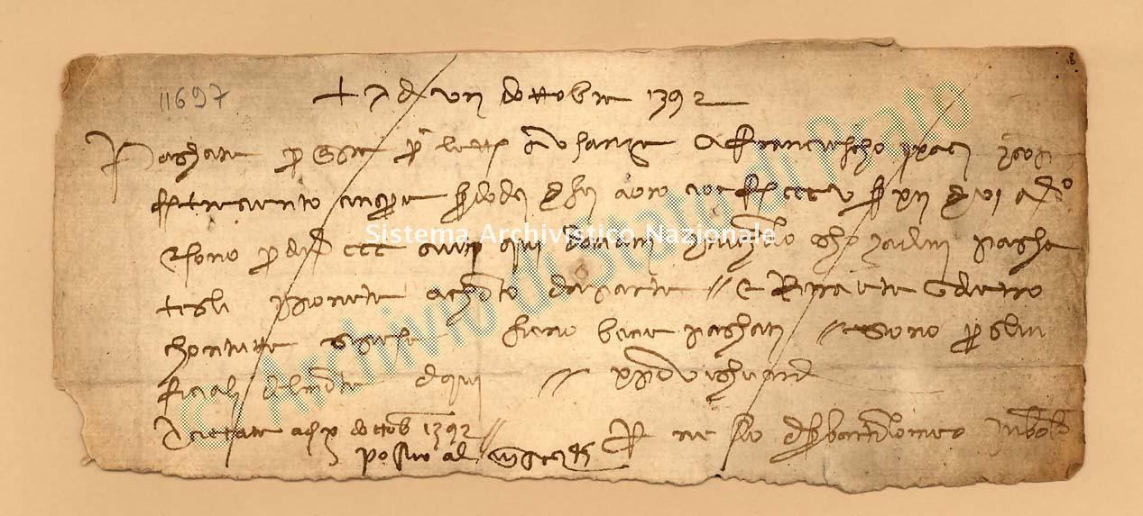 Archivio di Stato di Prato, Fondo Datini, Carteggio specializzato, Lettere di cambio, Fondaco di Pisa, Proveniente Da Bologna (busta 1143, inserto 62, codice 11697)