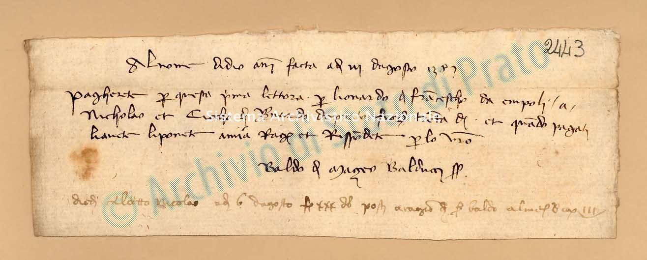 Archivio di Stato di Prato, Fondo Datini, Carteggio specializzato, Lettere di cambio, Fondaco di Prato, Proveniente Da Pistoia (busta 1142, inserto 184, codice 2443)