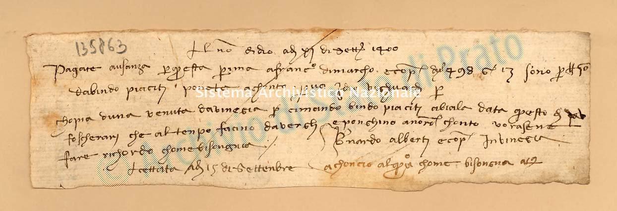 Archivio di Stato di Prato, Fondo Datini, Carteggio specializzato, Lettere di cambio, Fondaco non indicato, Proveniente Da Venezia (busta 1142.01, inserto 35, codice 135863)