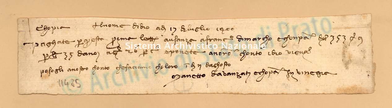 Archivio di Stato di Prato, Fondo Datini, Carteggio specializzato, Lettere di cambio, Fondaco non indicato, Proveniente Da Venezia (busta 1142.01, inserto 36, codice 11485)