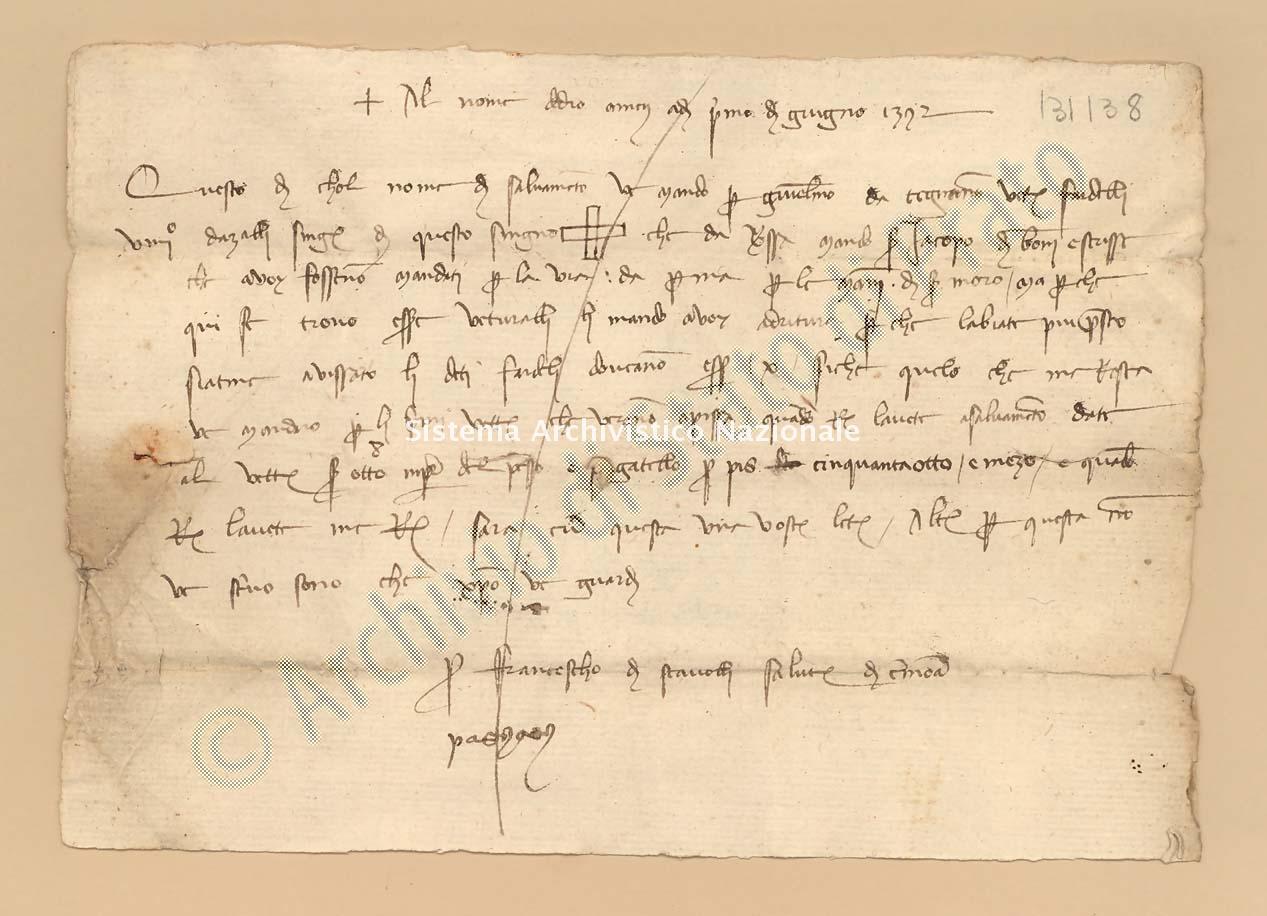 Archivio di Stato di Prato, Fondo Datini, Carteggio specializzato, Ricevute e mandati di mercanzia, Fondaco di Pisa, Proveniente Da Cremona (busta 1149, inserto 60, codice 131138)