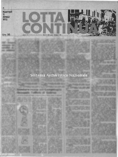 Fondazione Erri De Luca, Archivio Lotta Continua, 1 Aprile 1977, Numero 72, Pagina 1