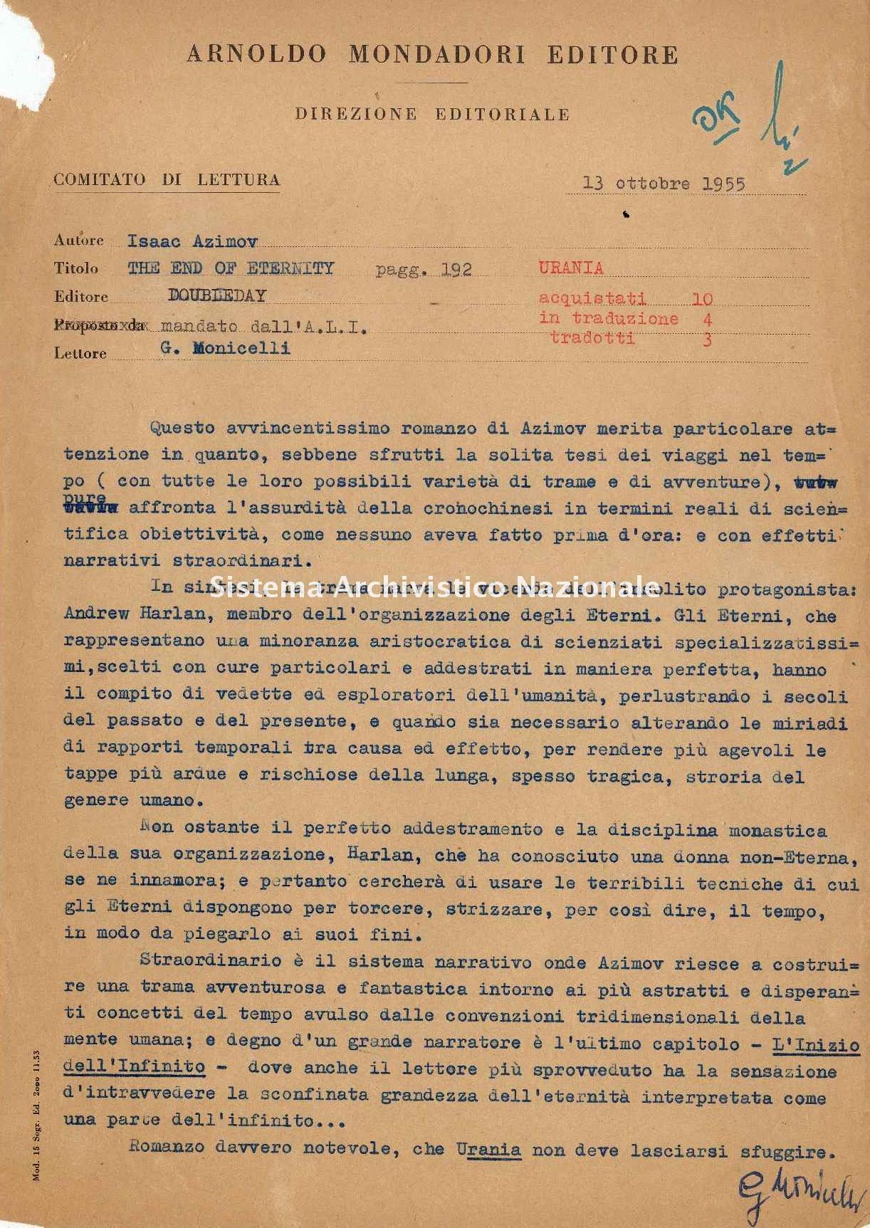 Mondadori, lettera, 1955