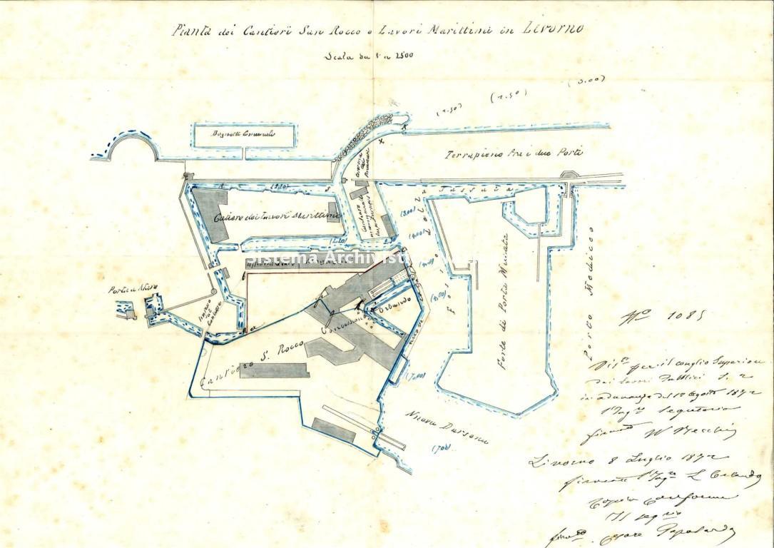 Fratelli Orlando, pianta del cantiere navale, Livorno 1872