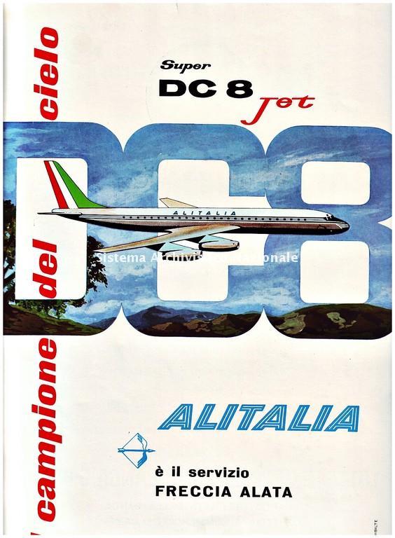Super DC 8 Jet dell'Alitalia, immagine pubblicitaria, in «Operare», XVI (1960), 2 (AS Ragusa, Fondo Prefettura di Ragusa)