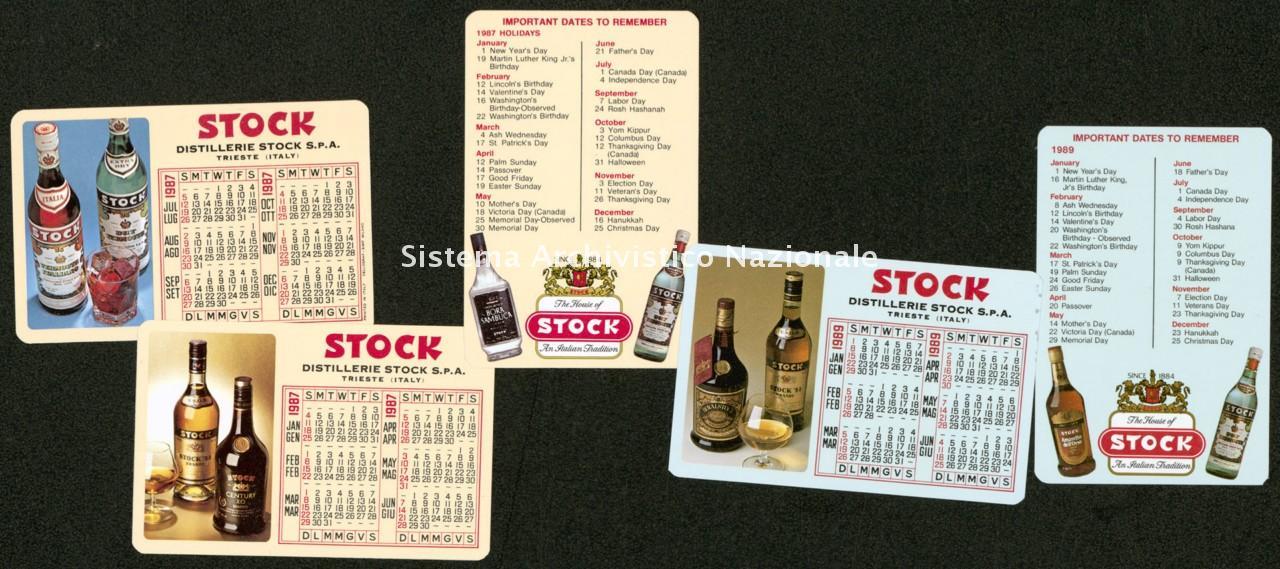 Distillerie Stock spa, calendarietti pubblicitari, Trieste 1987 e 1989