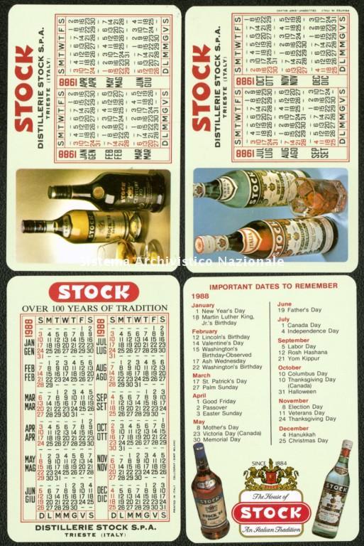 Distillerie Stock spa, calendarietti pubblicitari, Trieste 1988