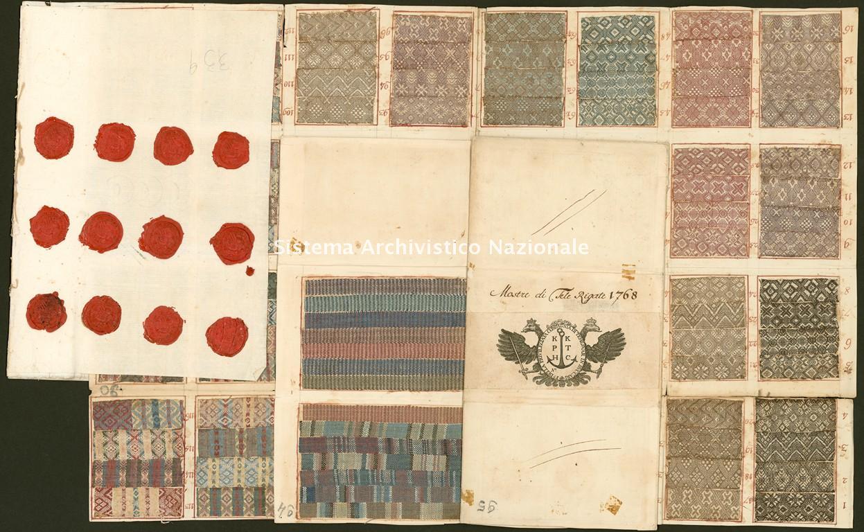 Privilegiata compagnia di Temeswar, campionario di tele rigate, Buccari 1768