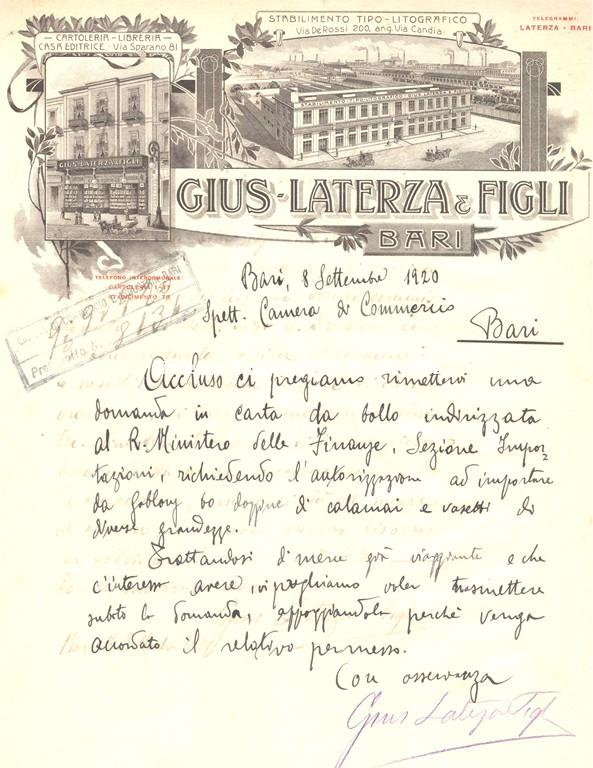 Gius. Laterza & Figli, lettera commerciale, Bari 1920