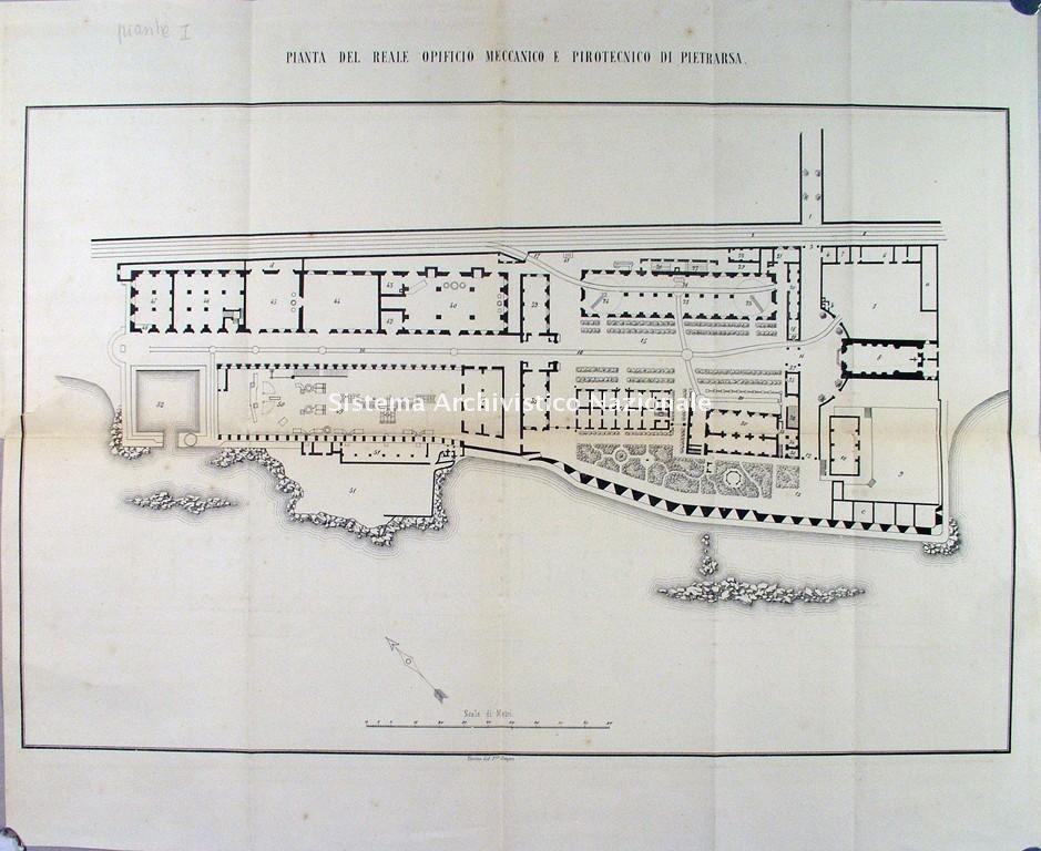 Reale opificio meccanico e pirotecnico di Pietrarsa, planimetria, 1861