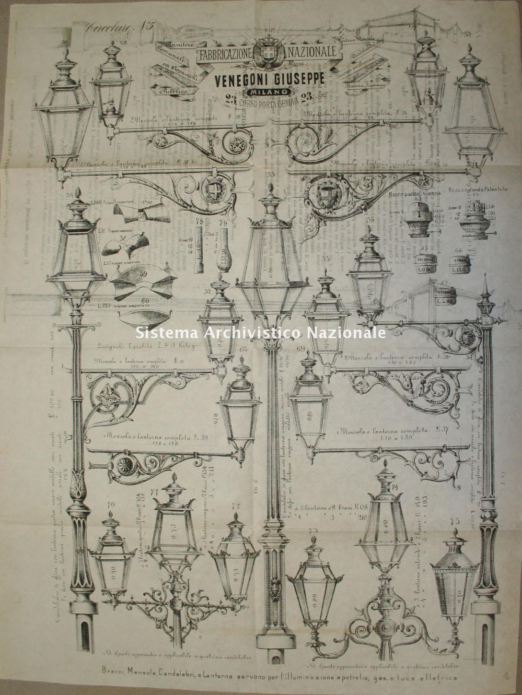 Ditta Venegoni Giuseppe di Milano, articoli per l'illuminazione pubblica, 1883