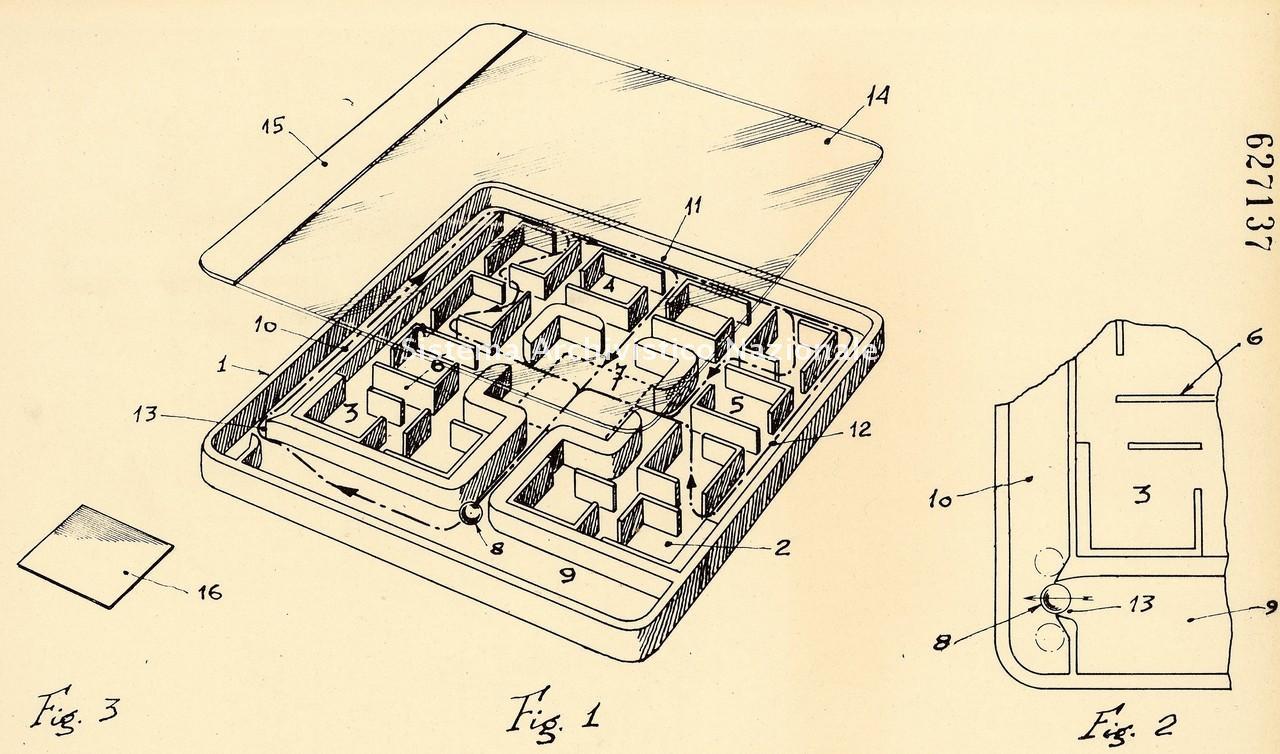 Vincenzo de Lucia, brevetto di un bigliardino a labirinto, Afragola 1961