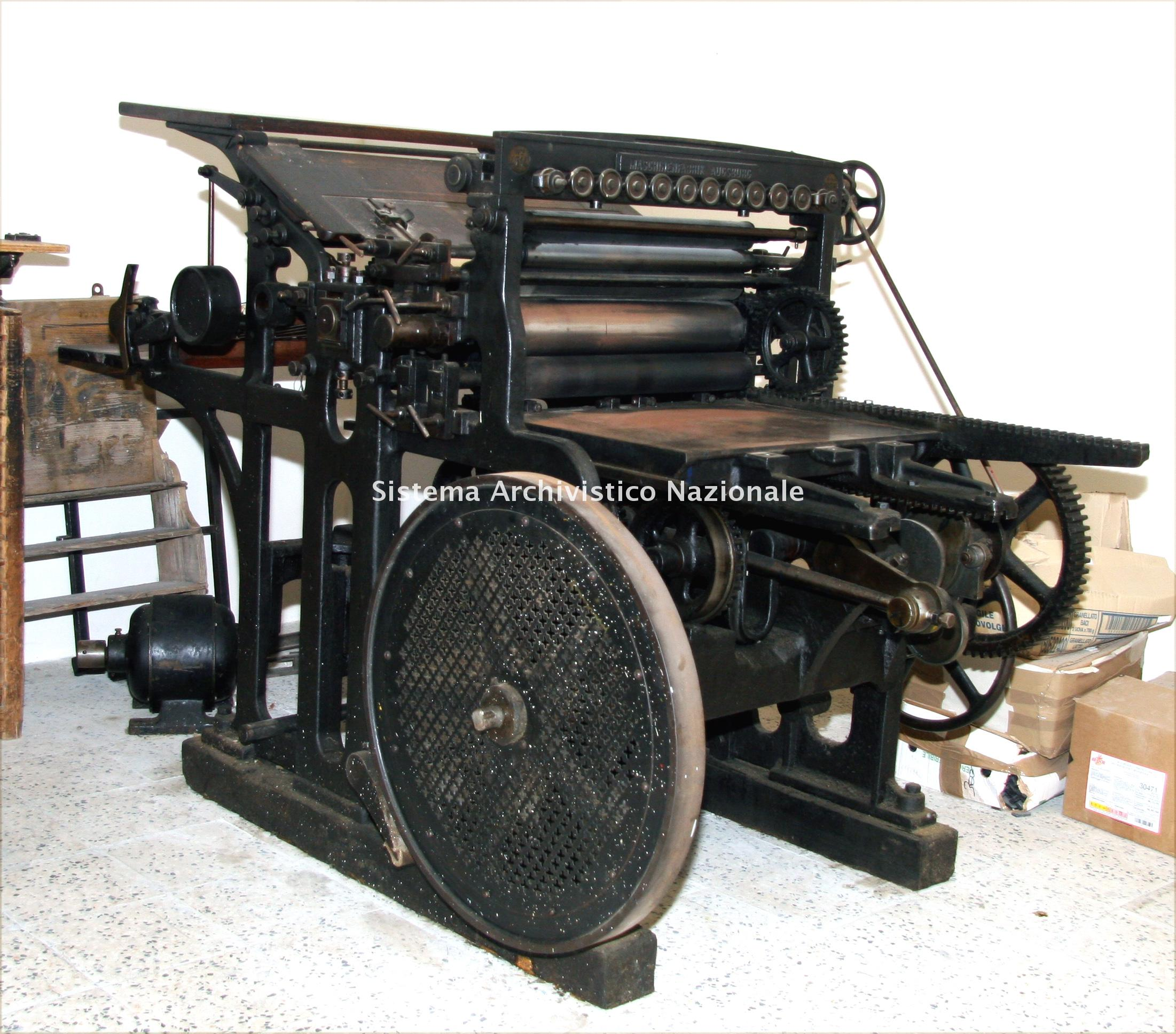 Maschinenfabrik, macchina tipografica, Augusta 1895