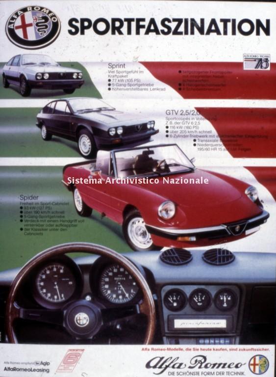 Alfa Romeo, immagine pubblicitaria, anni '80