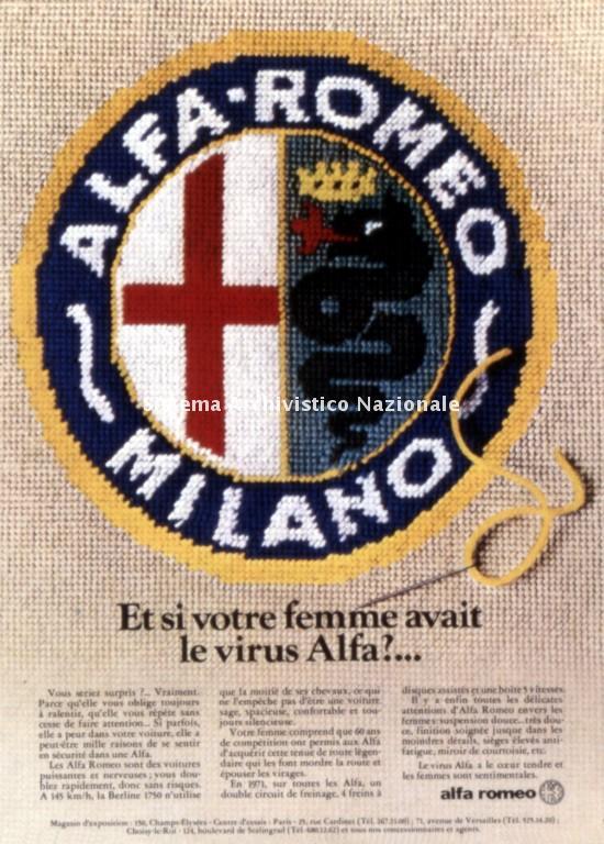 Alfa Romeo, immagine pubblicitaria per il mercato francese, 1970-1980