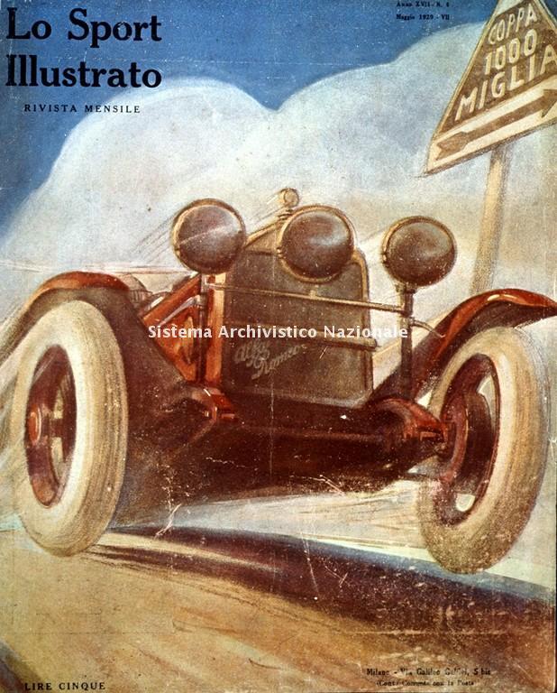 Alfa Romeo, periodico Lo Sport Illustrato, Coppa 1000 miglia, 1929