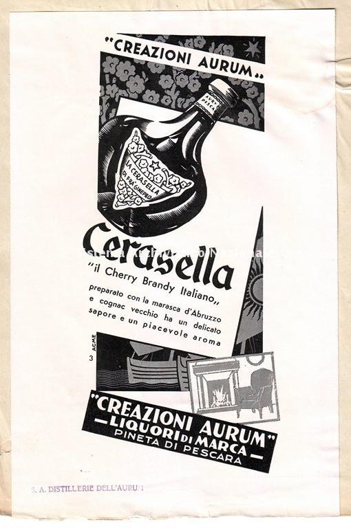 Distilleria Aurum, manifesto pubblicitario, Pescara sec. XX
