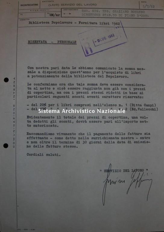 Montecatini Piano D'Orta, lettera, 1962