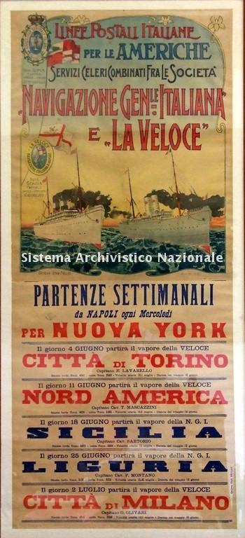 Linee postali italiane per le Americhe, locandina, 1902