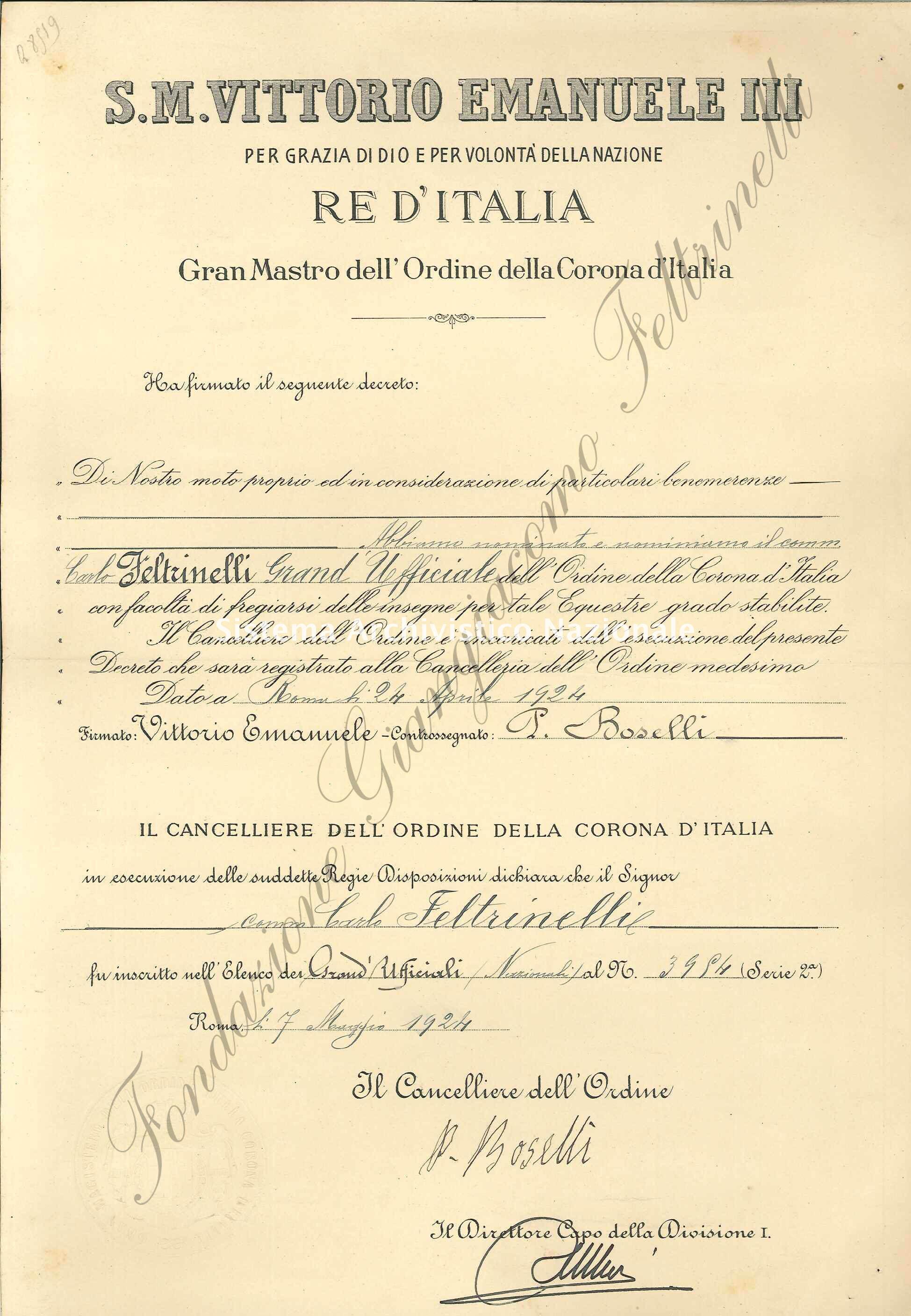 Feltrinelli, conferimento a Carlo Feltrinelli della commenda di Grande Ufficiale dell'Ordine della Corona d'Italia, Roma 1924