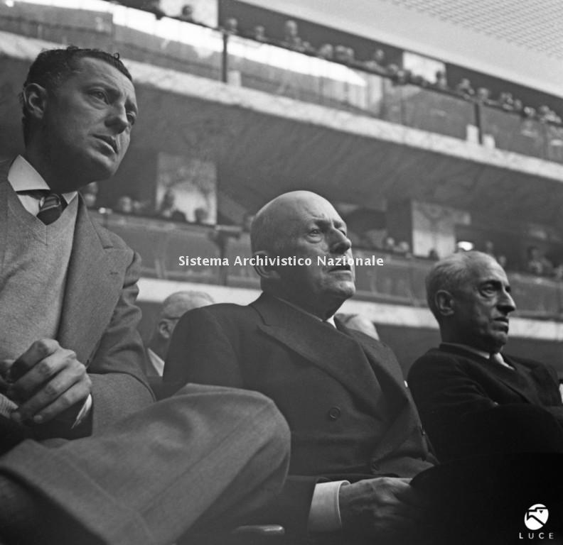 Giovanni Agnelli, Alberto Pirelli e Vittorio Valletta, Roma 26 gennaio 1957